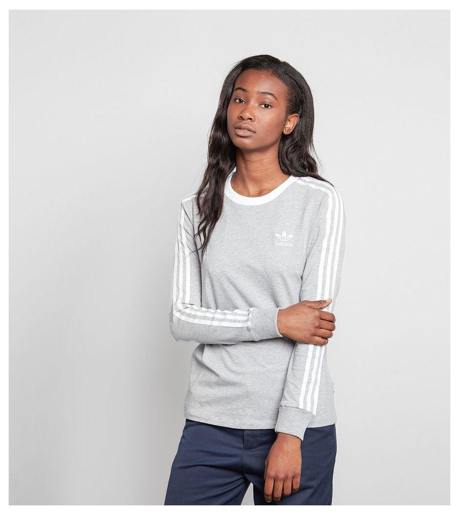 adidas Originals 3 Stripe Long-Sleeved T-Shirt, Grey