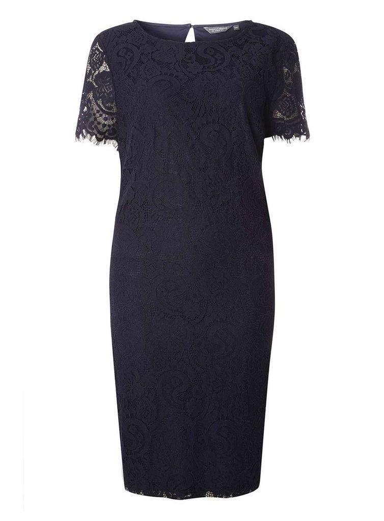 Womens **Tall Navy Lace Shift Dress- Blue