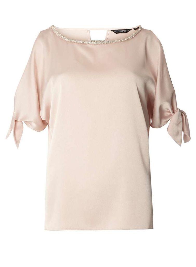 Womens Blush Embellished Neck Top- Blush