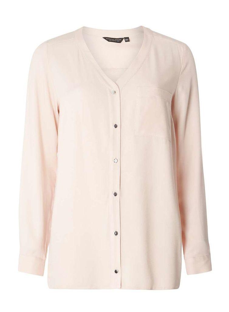 Womens Nude Roll Sleeve Shirt- White
