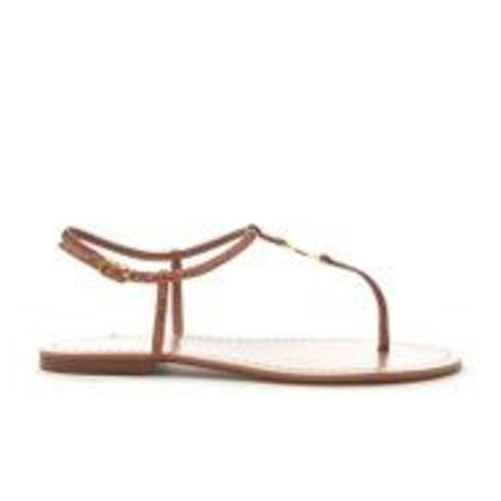 Lauren Ralph Lauren Women's Aimon T-Bar Croc Flat Sandals - Polo Tan - UK 7.5/US 9.5