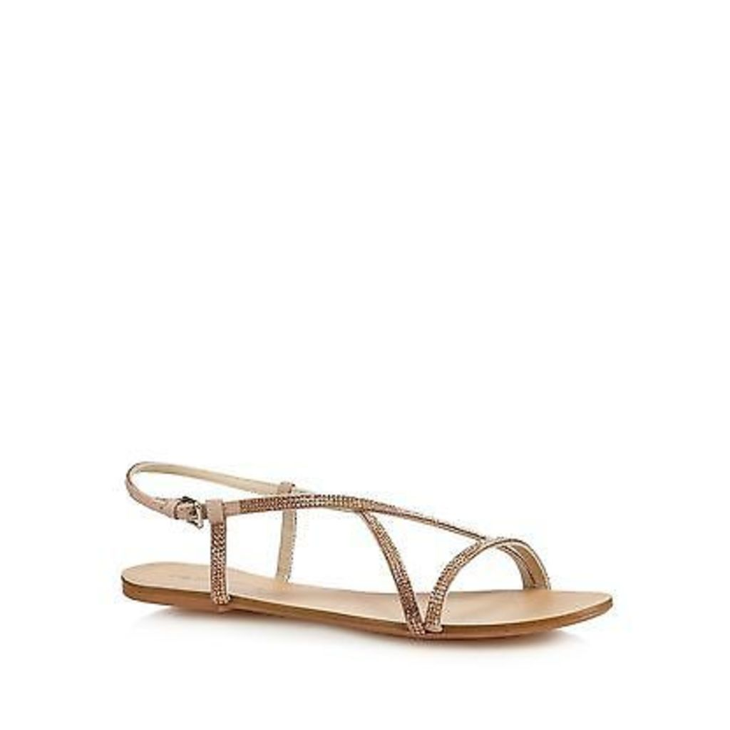 Red Herring Womens Rose Gold Diamante Flat Sandals From Debenhams