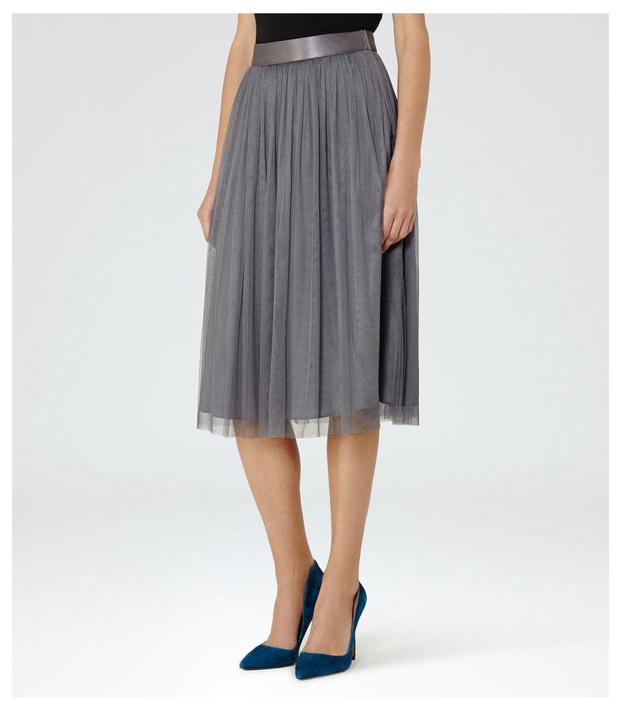 REISS Crystal - Womens Tulle Skirt in White
