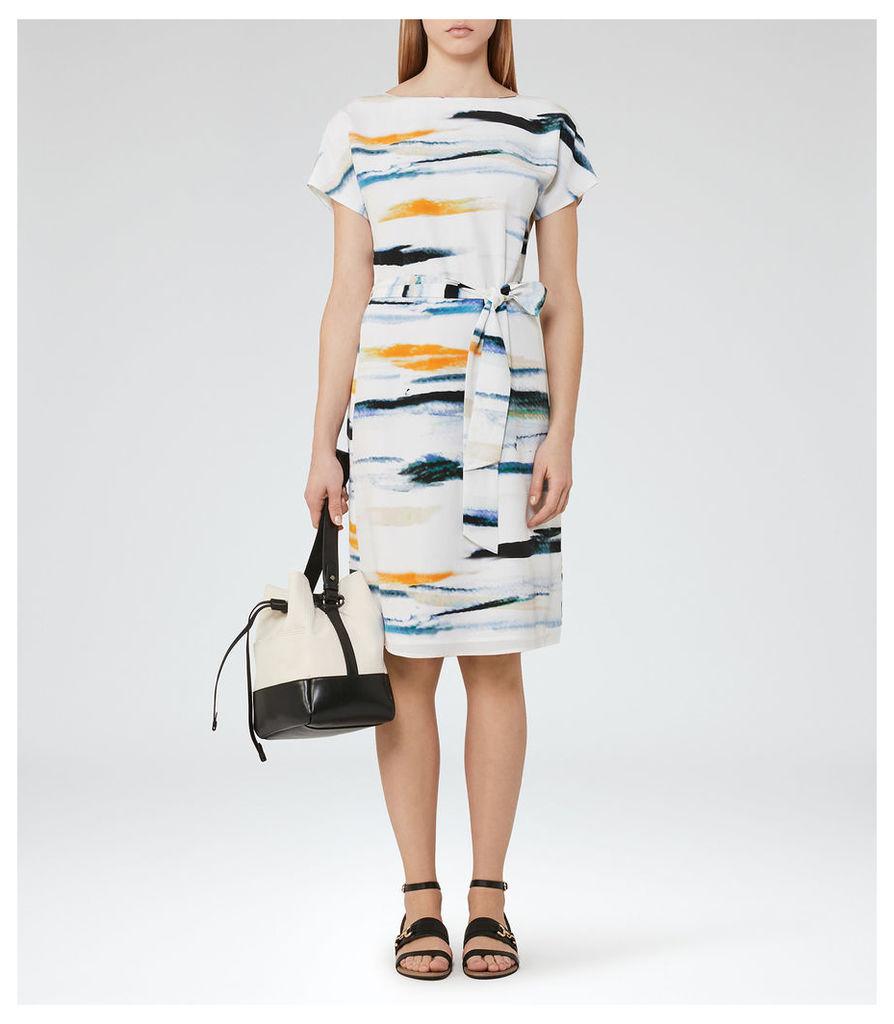 REISS Alba - Womens Waist Tie Dress in Blue