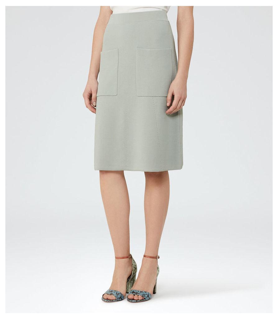 REISS Bridgette - Womens Knitted A-line Skirt in Green