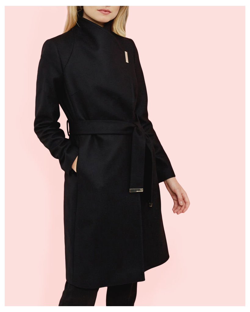 Ted Baker Magnetic clasp long coat Black