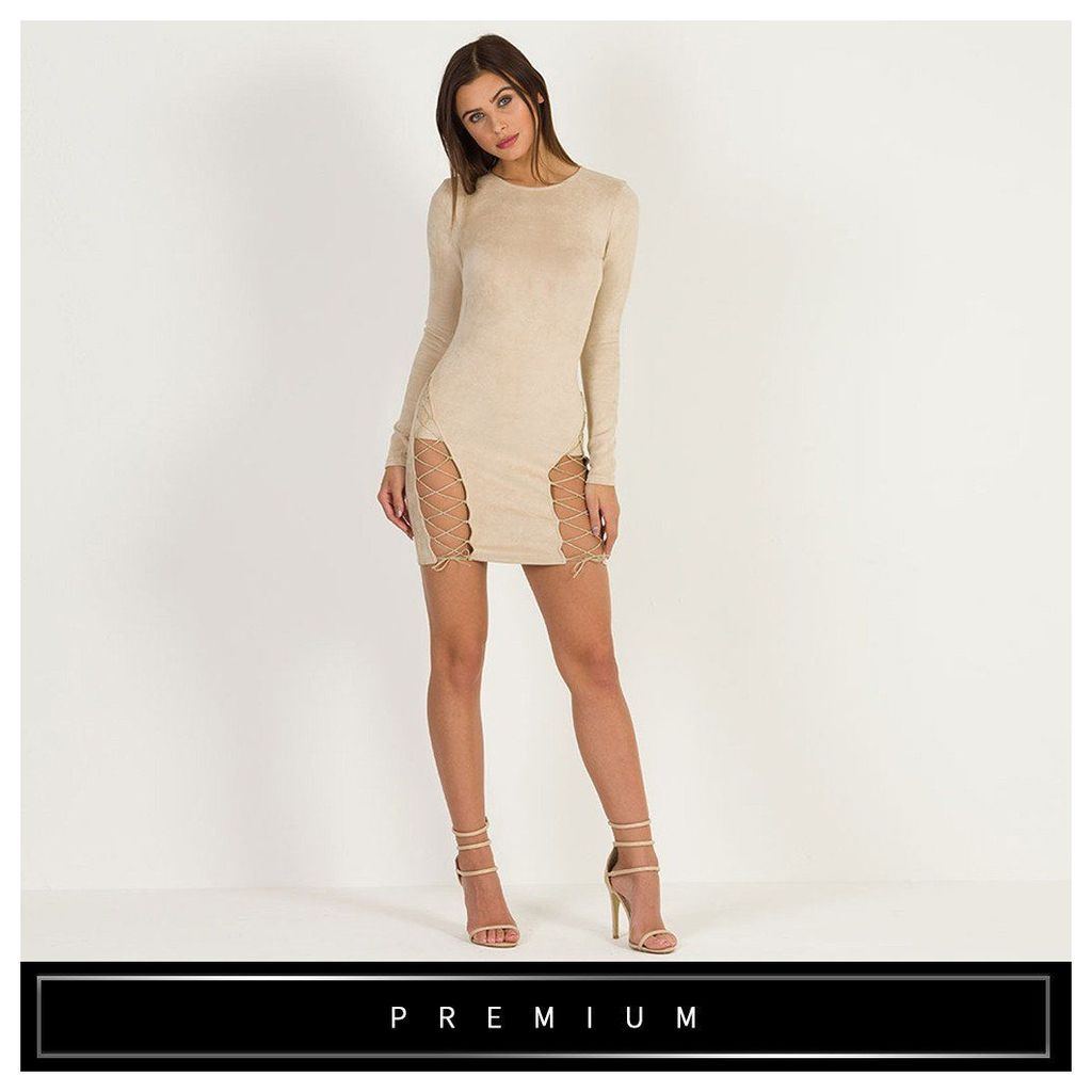 Maniere De Voir; Suede Lace-Up Bodycon Dress - Beige