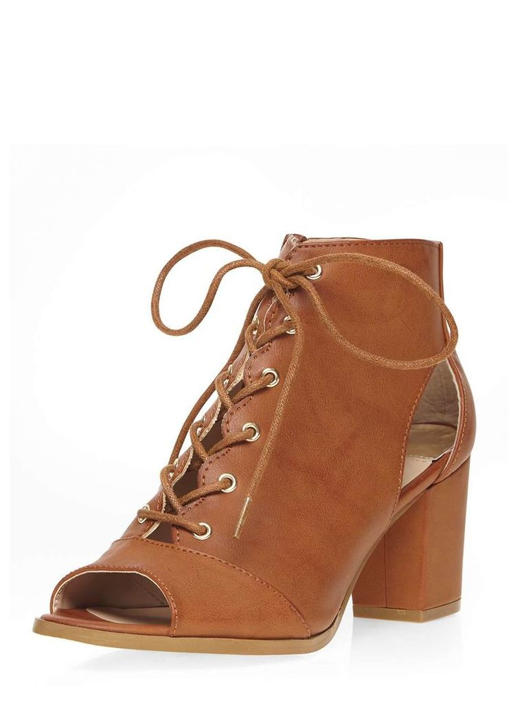 Womens Open Toe Lace Up Heeled Summer Boots- Brown