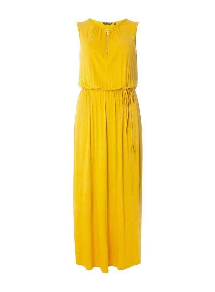 Womens Yellow Zip Front Jersey Maxi Dress- Yellow