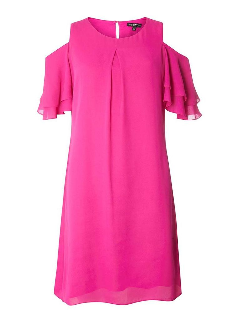 Womens Pink Double Ruffle Shift Dress- Pink