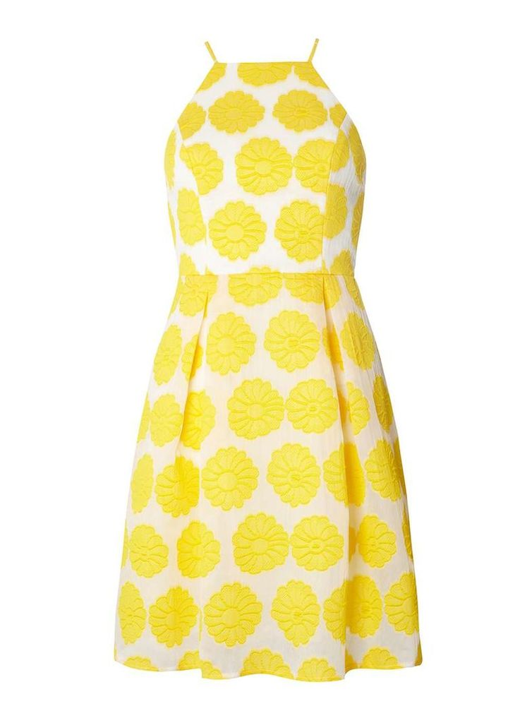 Womens Yellow Floral Prom Dress- Yellow
