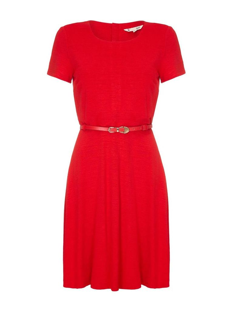 Yumi Belted Short Sleeve Dress, Red