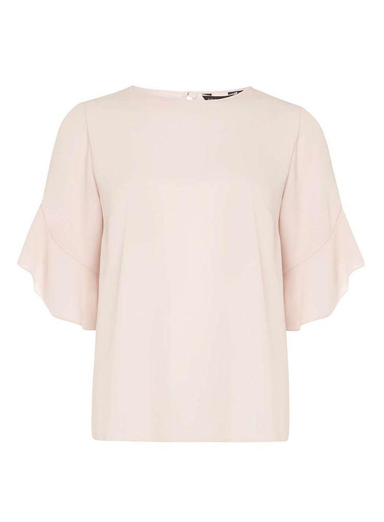 Womens Blush Ruffle Sleeve Top- Pink