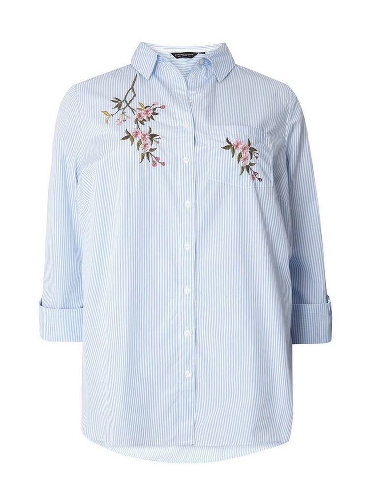 Womens DP Curve Plus Size Blue Striped Embroidered Shirt- Blue