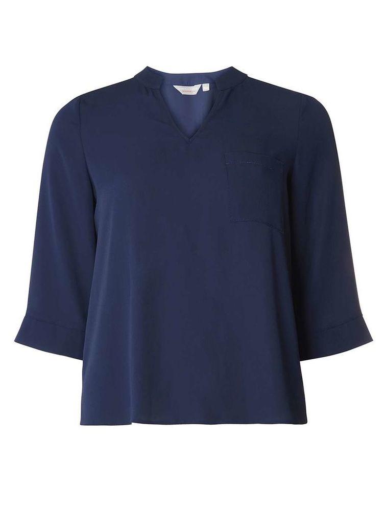 Womens Petite Navy Split Cuff Shirt- Blue