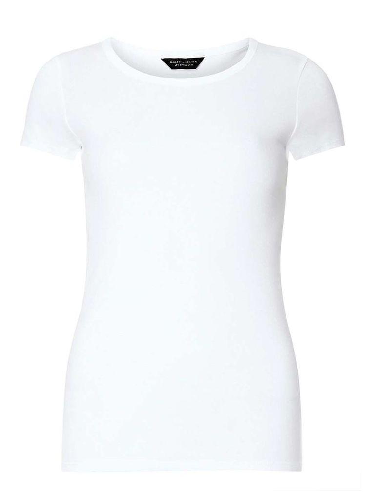 Womens White cotton tee- White