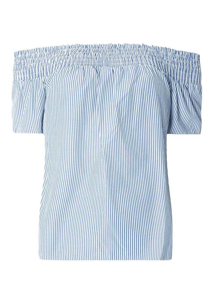 Womens Blue Tie Back Stripe Bardot Top- Blue
