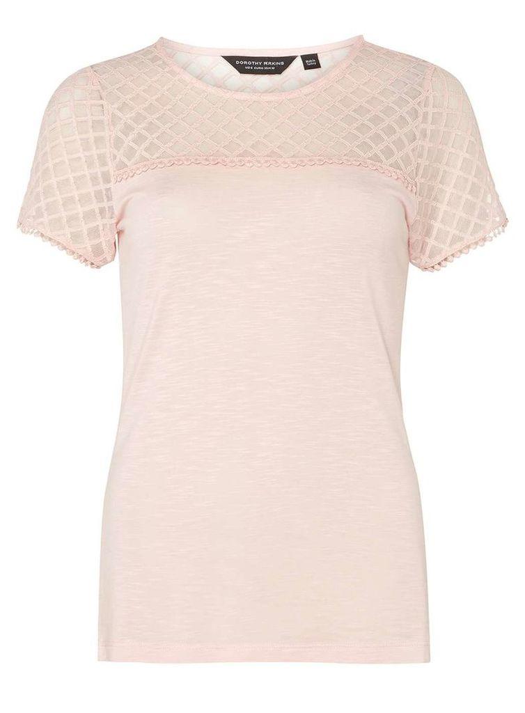 Womens Pink Lace Yoke T-Shirt- Pink