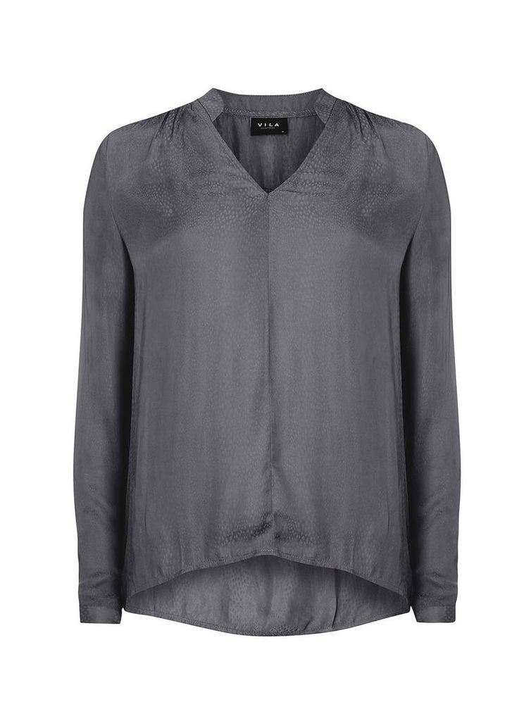Womens **Vila Grey Textured Blouse- Grey