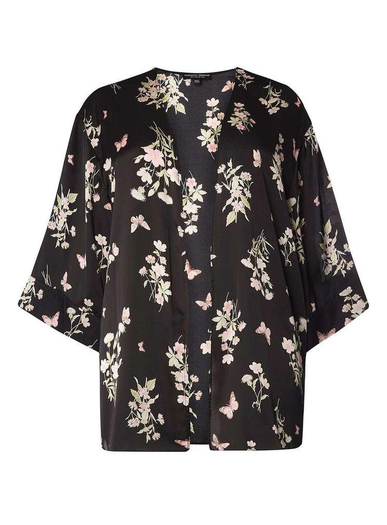 Womens DP Curve Plus Size Black Butterfly Print Kimono- Black