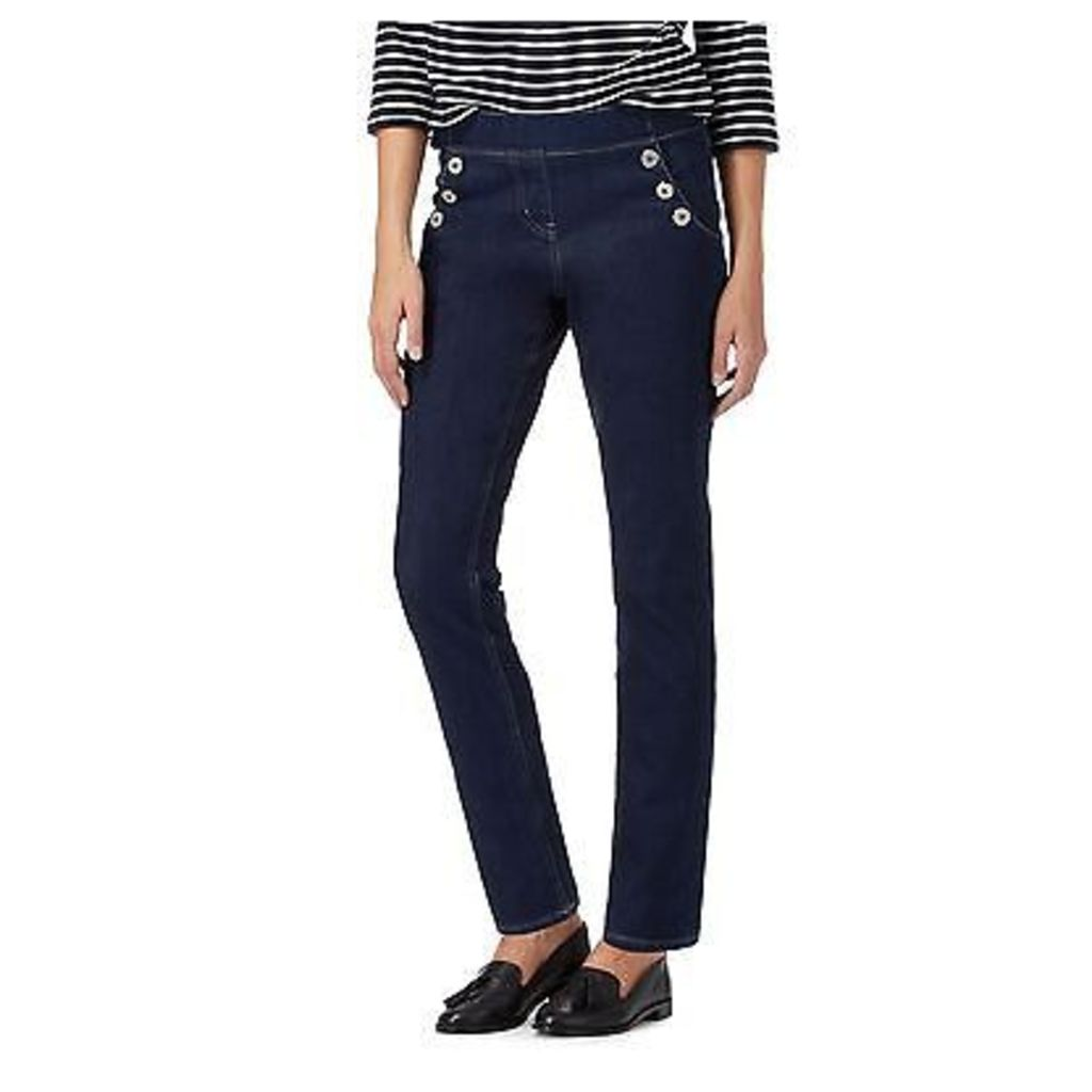 Maine New England Womens Dark Blue Side Sailor Button Jeggings From Debenhams