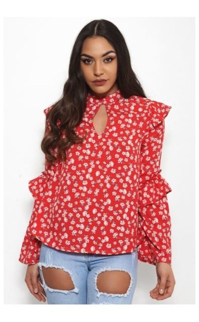 Tiffany Red Floral Blouse