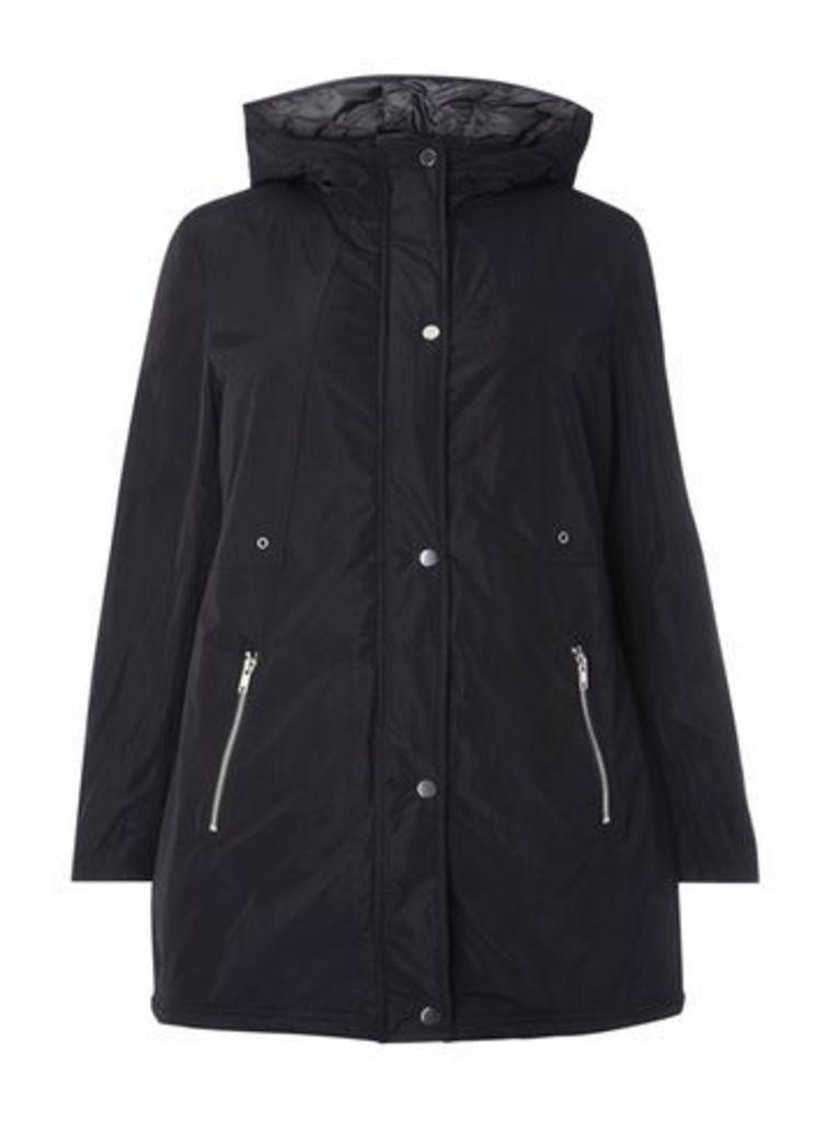 Navy Blue Hooded Coat, Black