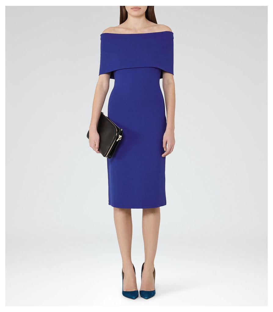 REISS Rafferty - Womens Off-the-shoulder Dress in Blue