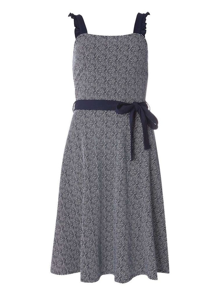 Womens **Tall Navy Spotted Ruffle Sundress with Belt- Blue