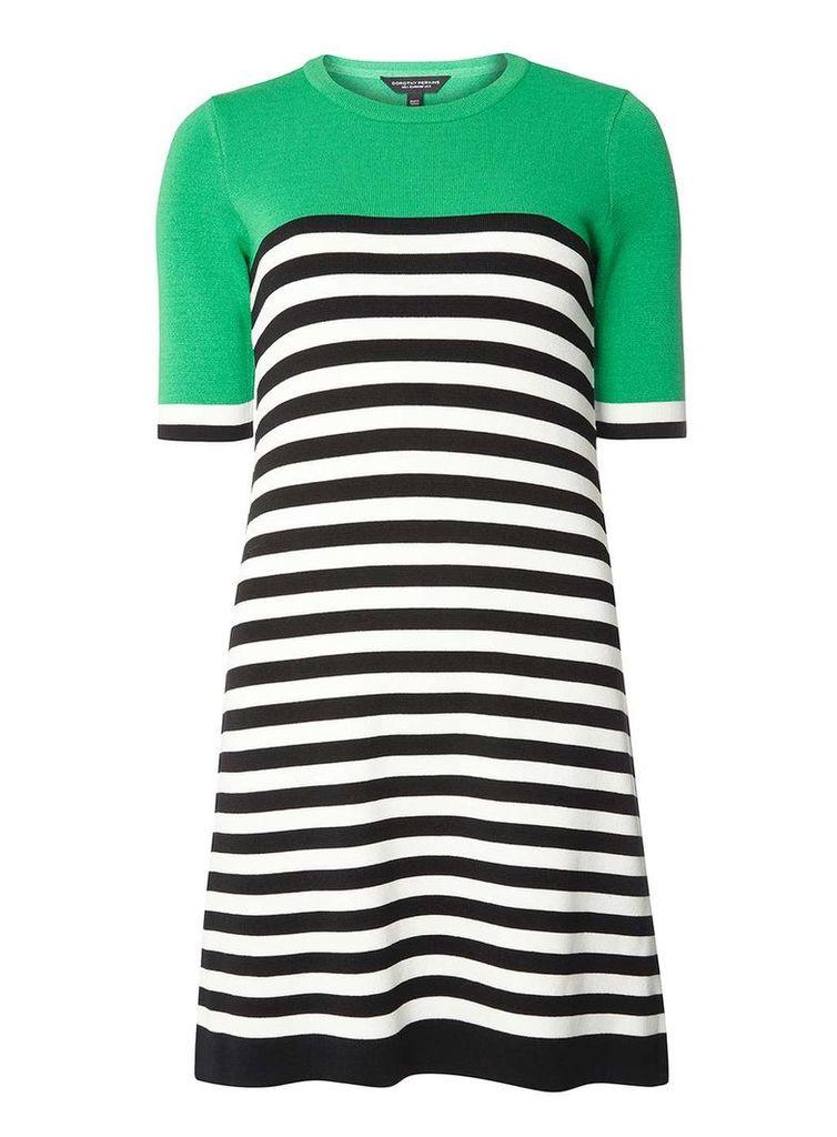 Womens Green Stripe Knitted Shift Dress- Green