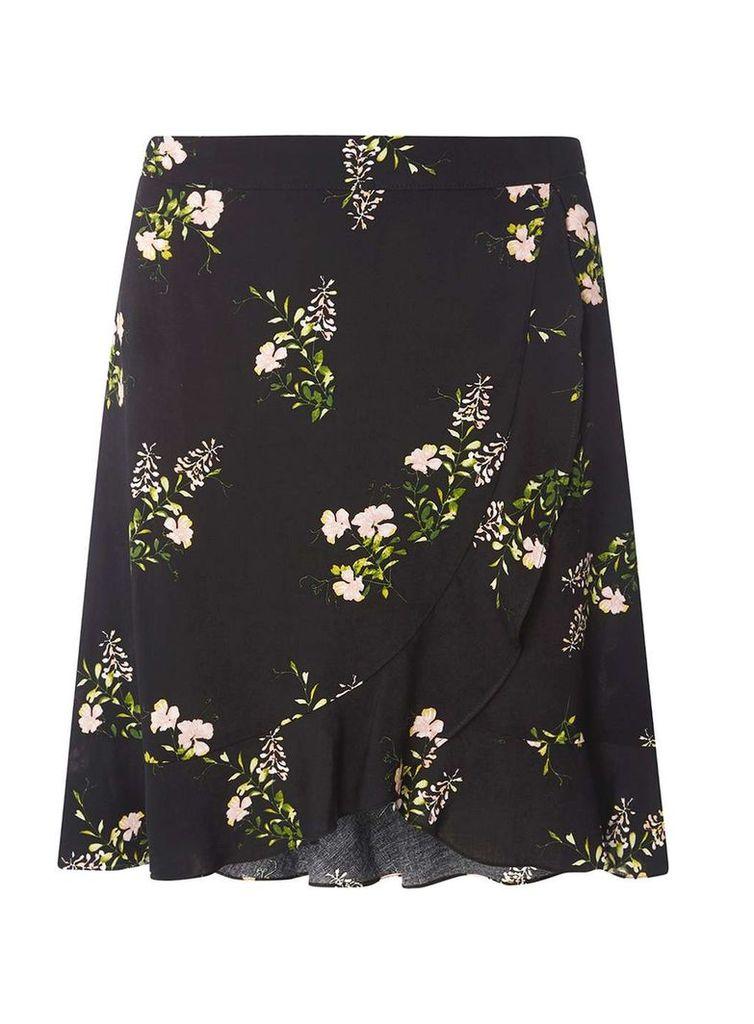 Womens Black Ditsy Ruffle Mini Skirt- Black