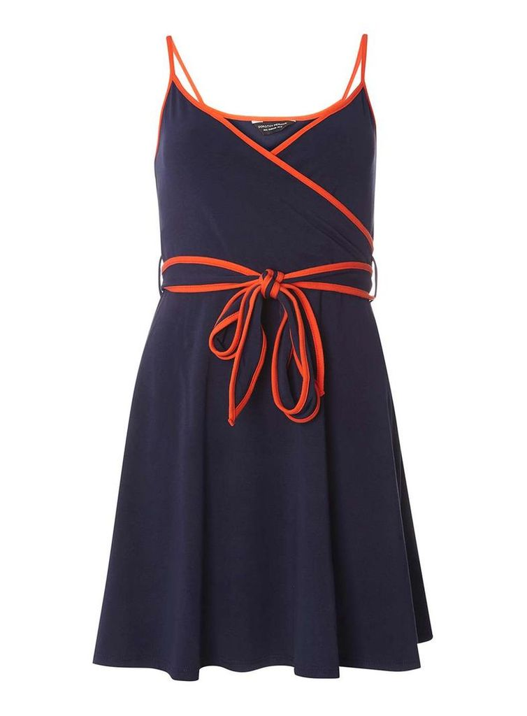 Womens Navy And Orange Wrap Dress- Blue