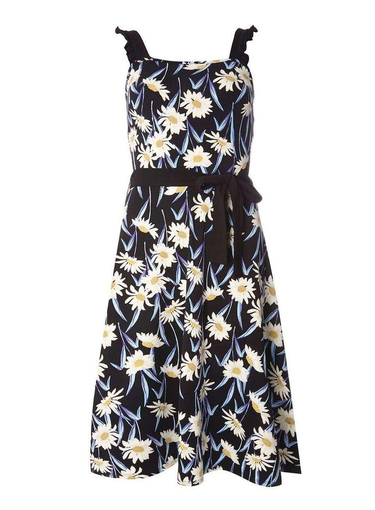 Womens **Tall Black Daisy Print Ruffle Sundress- Black