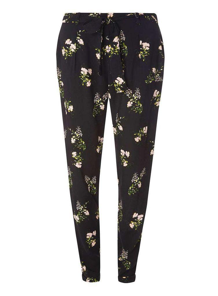 Womens Black Ditsy Print Tie Trousers- Black