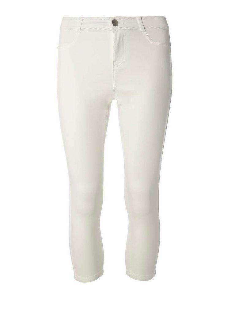 Womens Petite White 'Frankie' Ankle Grazer Jeggings- White
