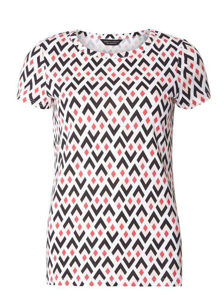 Womens Multi Colour Geometric Diamond Print T-Shirt- Multi Colour