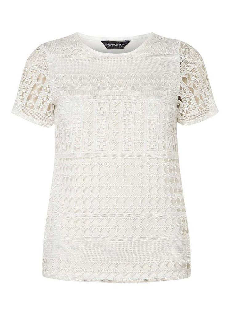 Womens Ivory Geometric Lace T-Shirt- White