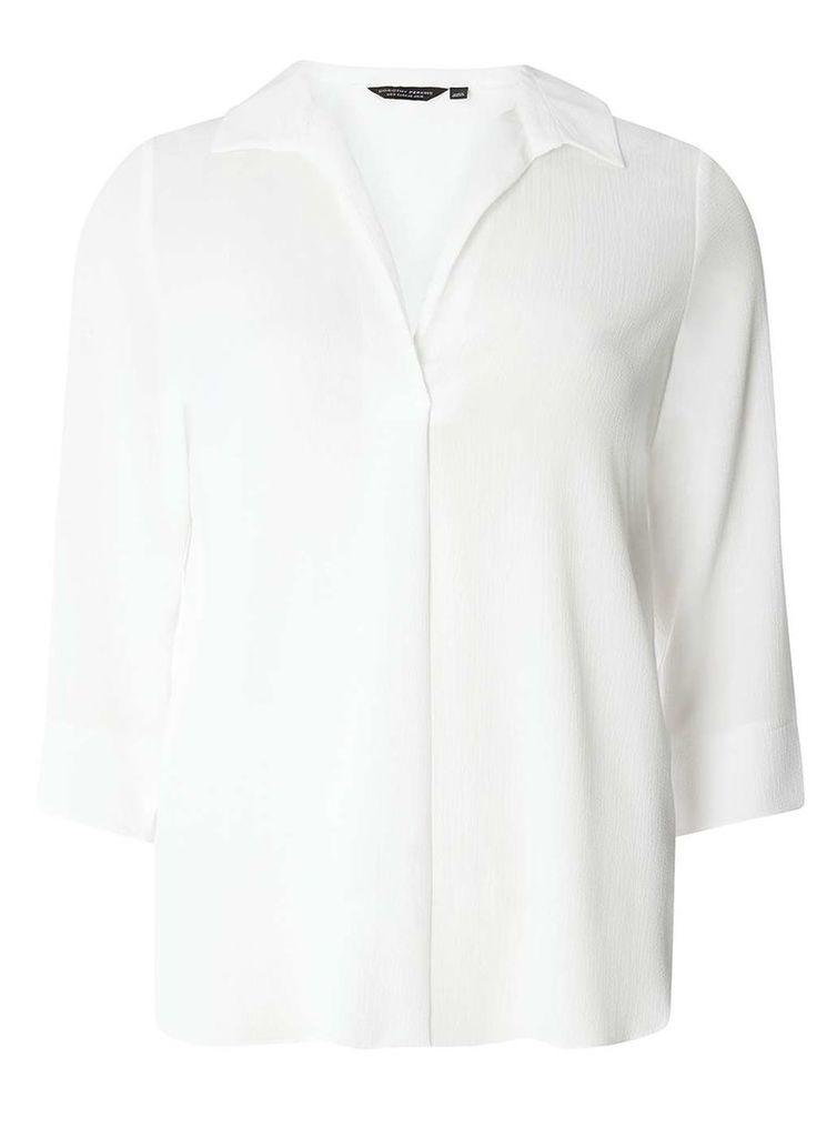 Womens Ivory Collar Deep V-Neck Shirt- Ivory