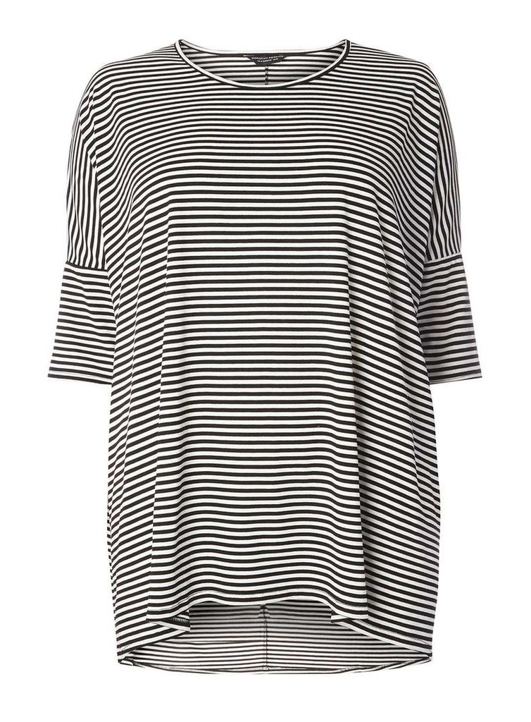 Womens DP Curve Plus Size Stripe dip back hem- Black
