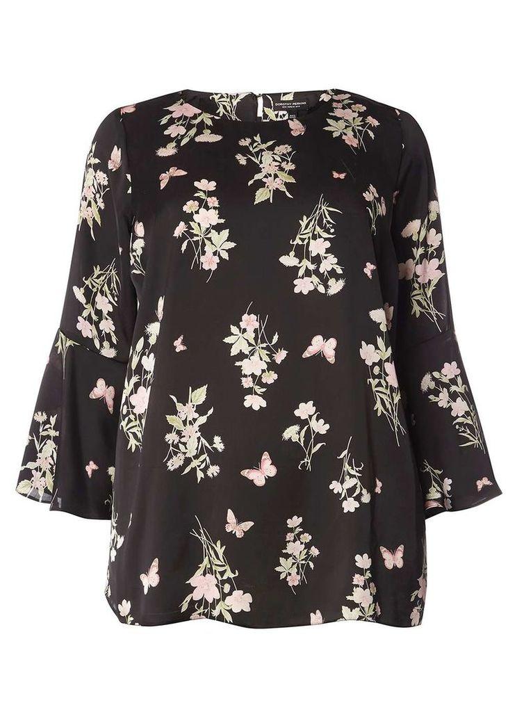 Womens DP Curve Plus Size Black Butterfly Print Flute Sleeve Soft Top- Black