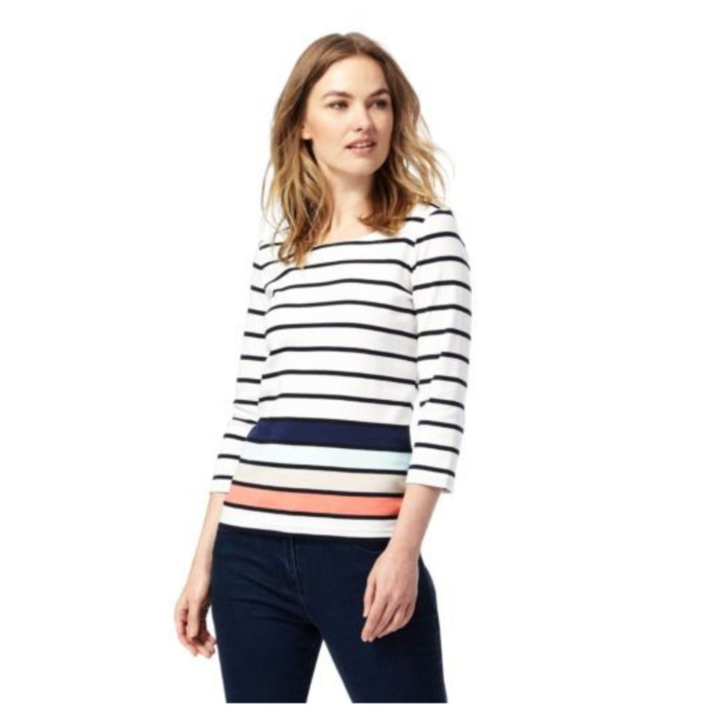 Maine New England Womens White Striped Scoop Neck Top From Debenhams 20