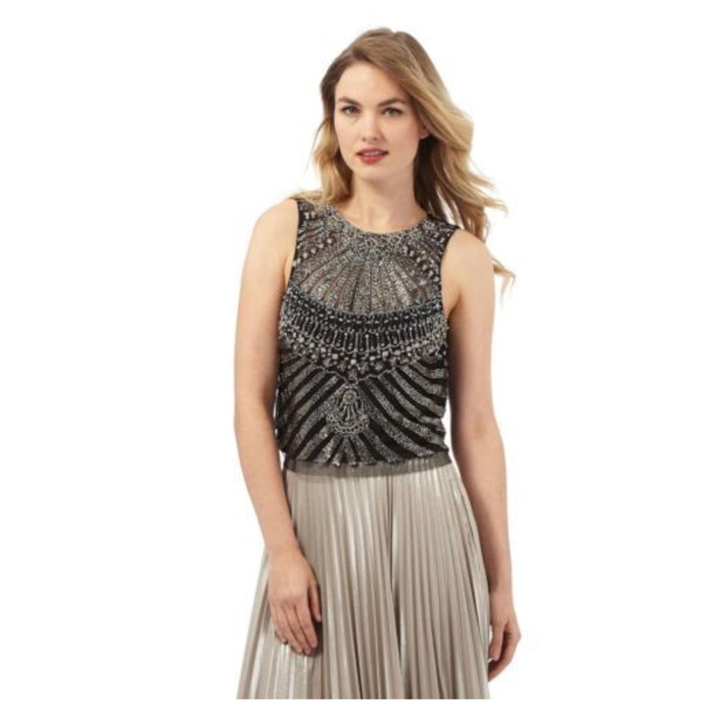 No. 1 Jenny Packham Womens Black And Silver Embellished Sleeveless Top 6