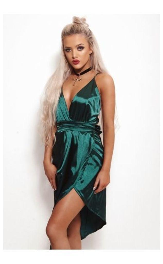 Jada Green Satin Multiway Dress