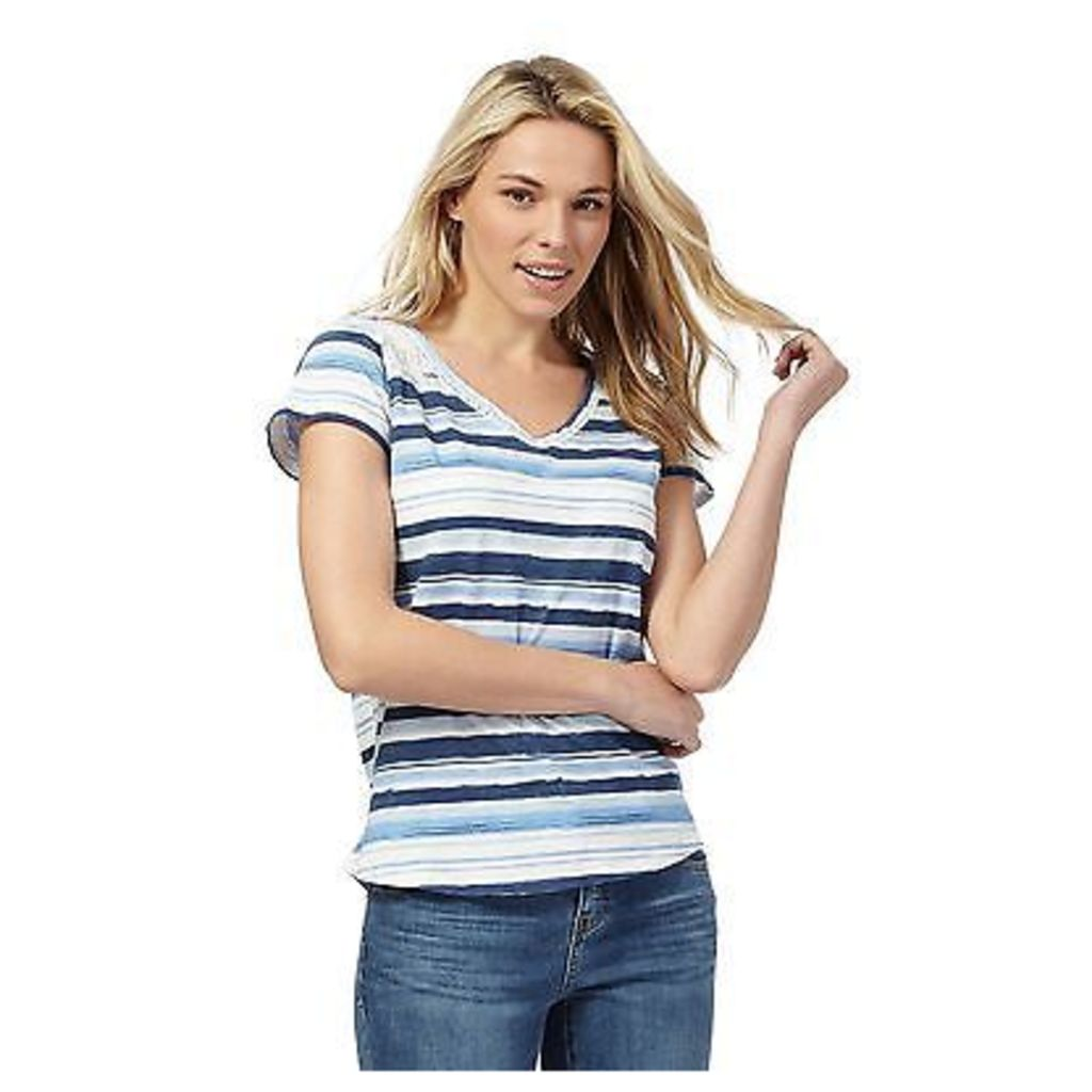 Mantaray Womens Blue Striped Print V Neck T-Shirt From Debenhams