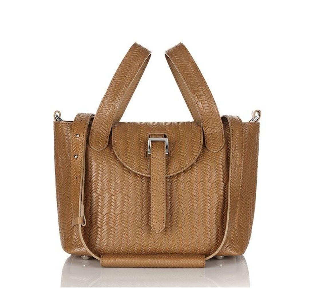 Thela Mini Cross Body Bag Light Tan Woven