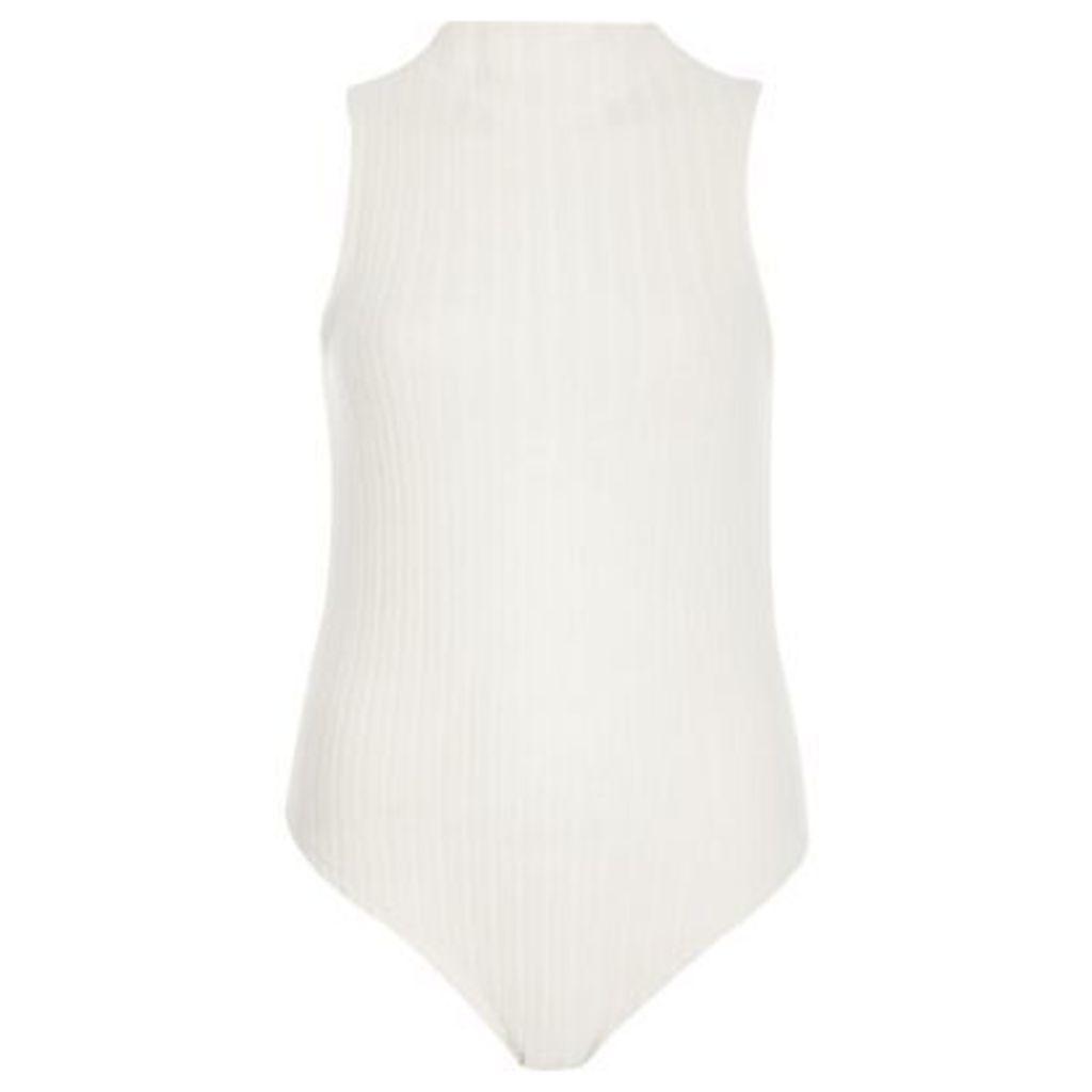 River Island Womens Cream soft ribbed turtleneck bodysuit