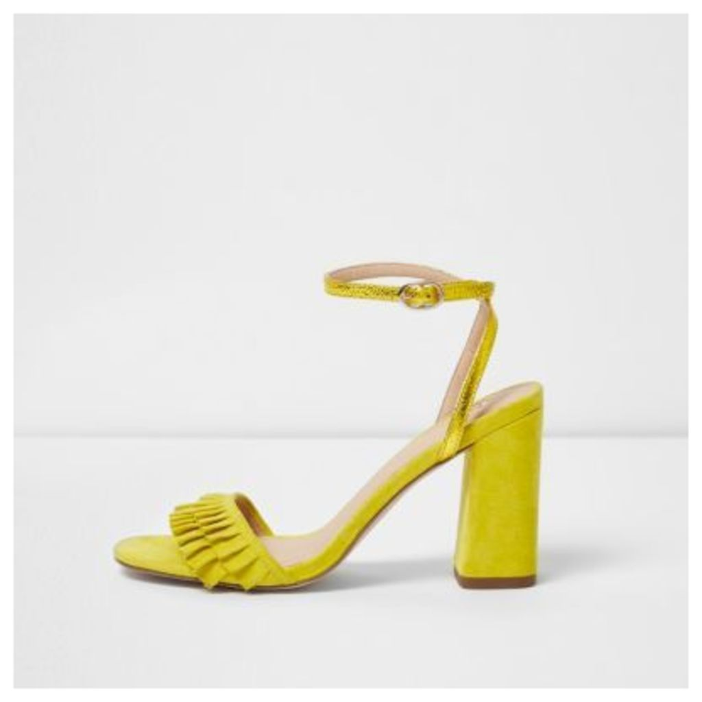 River Island Womens Yellow frill strap block heel sandals