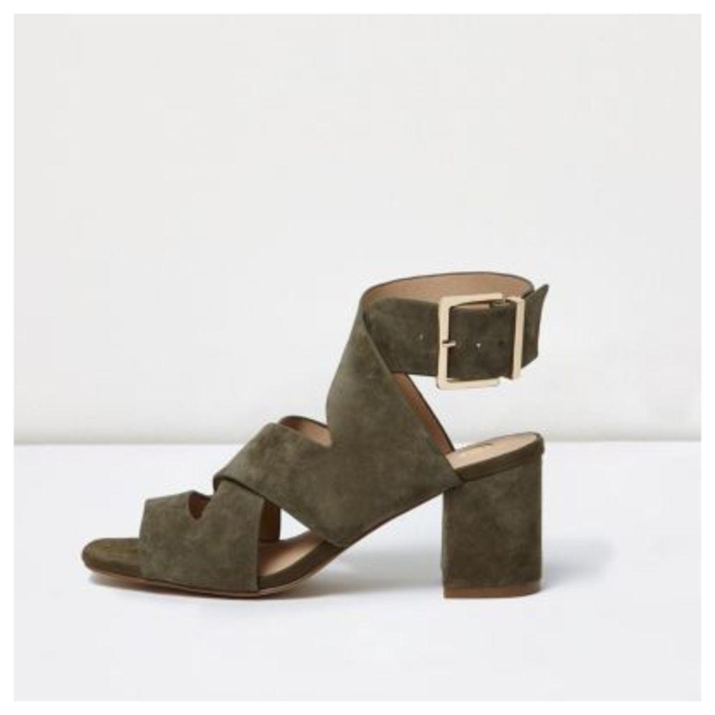 River Island Womens Khaki green crossover block heel sandals