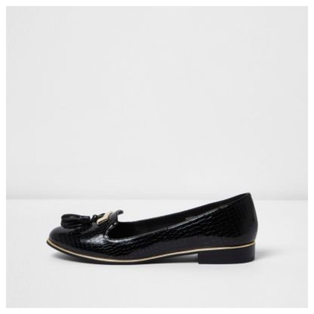 River Island Womens Black patent embossed loafers