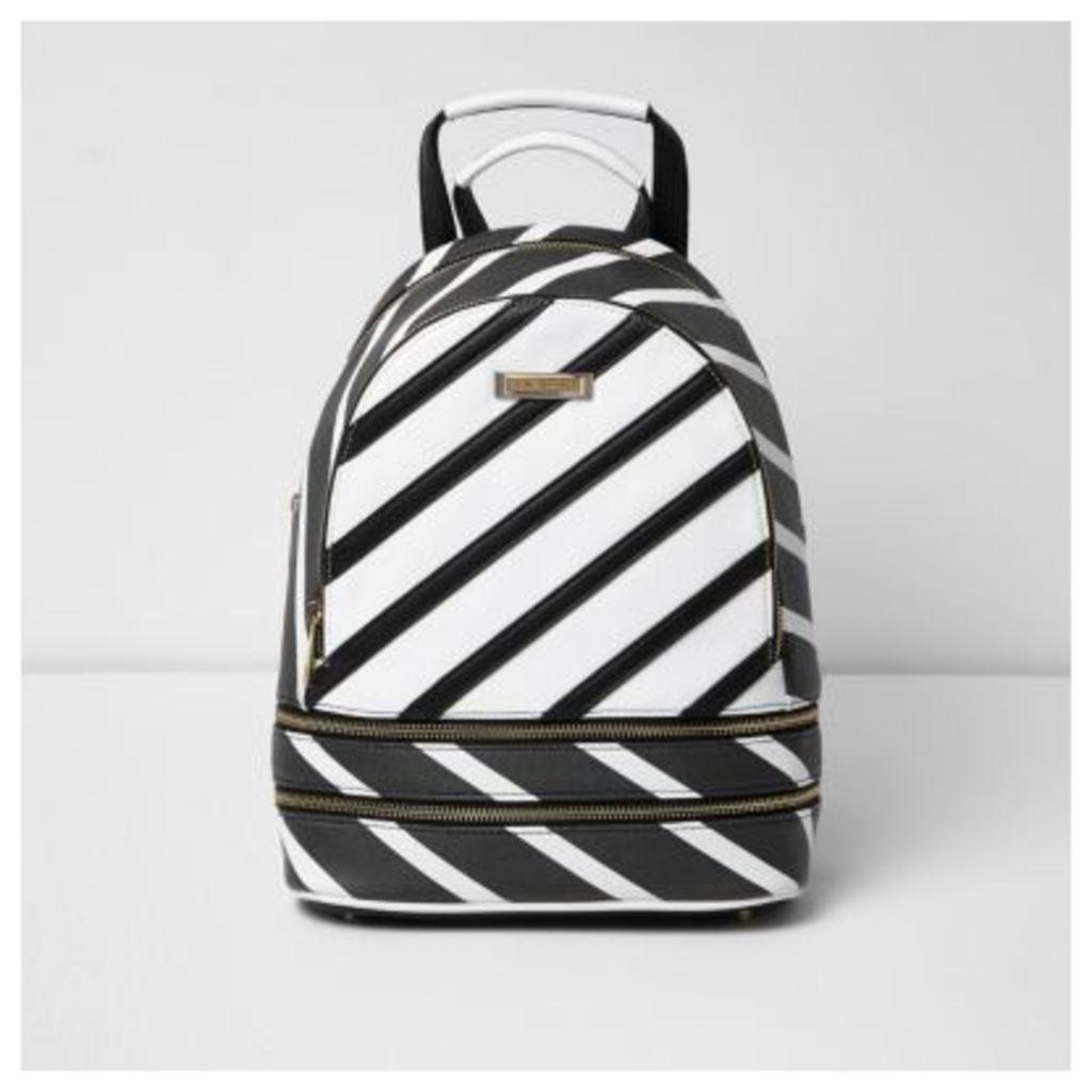 River Island Womens Black stripe print backpack